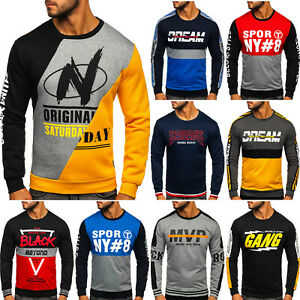 Sweatshirt Pullover Pulli Rundhals Motiv Sport Men Herren Mix BOLF 1A1 Aufdruck