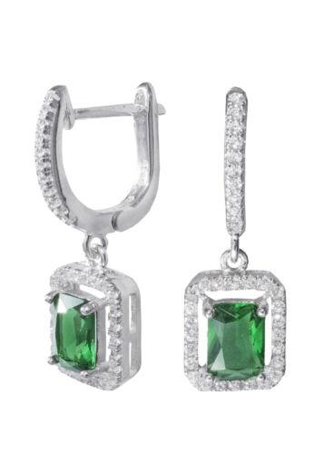 Klassische Ohrringe smaragdgrün 925er Silber Länge 2,5 cm