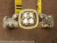 Yellow Gold Vintage Sculptural Halo Style Cushion Shape Diamonds Engagement Ring