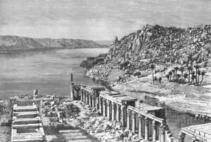 EGYPT. Nile-view Philae c1885 old antique vintage print picture