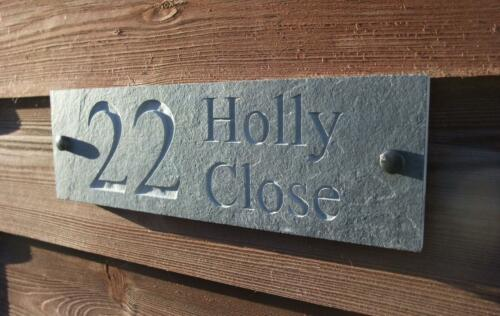 Engraved Natural Riven Slate House Door Sign Name Number Plaque
