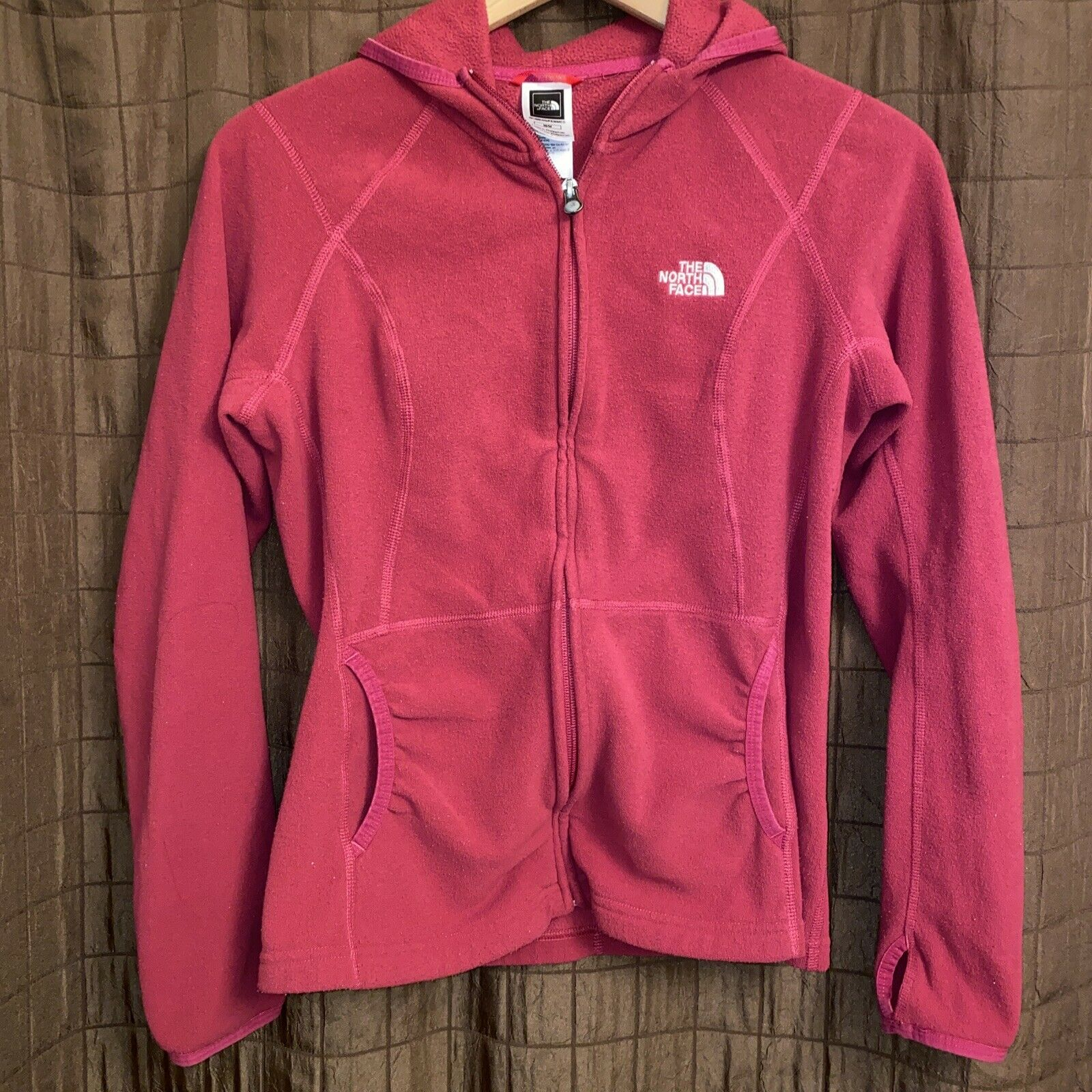 North Face Zip Up Hoodie Jacket Fitted Women's Medium Cranberry Red Thumb Holes
