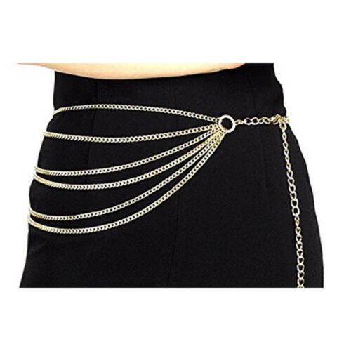 Punk Styles Belt Metal Chain Ring Waist Strap Dance Gothic Binding Harness