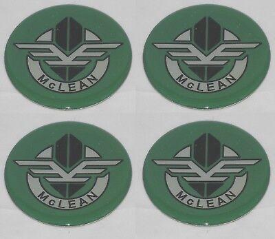 """4 GREEN McLEAN WIRE WHEEL RIM CENTER CAP ROUND 2.50/"""" 63.5mm DECAL STICKER LOGO"""