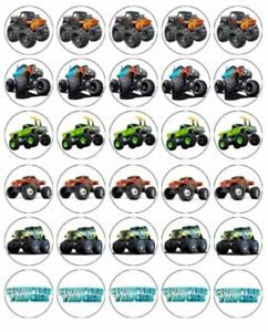 24 TRUCKS Cupcake Edible Wafer Paper Birthday Party Cake Decoration Toppers #1
