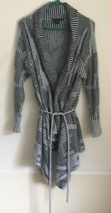 Details about BCBG Max Azria Sweater Long Cardigan Duster Jacket Size L Knit Belted Abstract