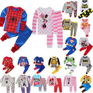 Baby-Kids-Boys-Girls-Superhero-Minnie-Mickey-Pyjamas-Nightwear-Pj-039-s-Pajamas-Set