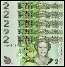 FIJI 2 Dollars Banknote World Paper Money UNC Currency Pick p109b 2007 Bill Note
