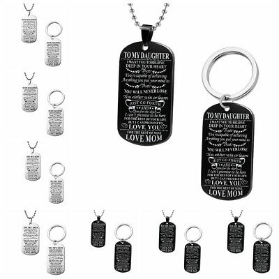 To My Son Daughter Mother Father Tag ID Pendant Keychain Necklace Family  Jewelry | eBay