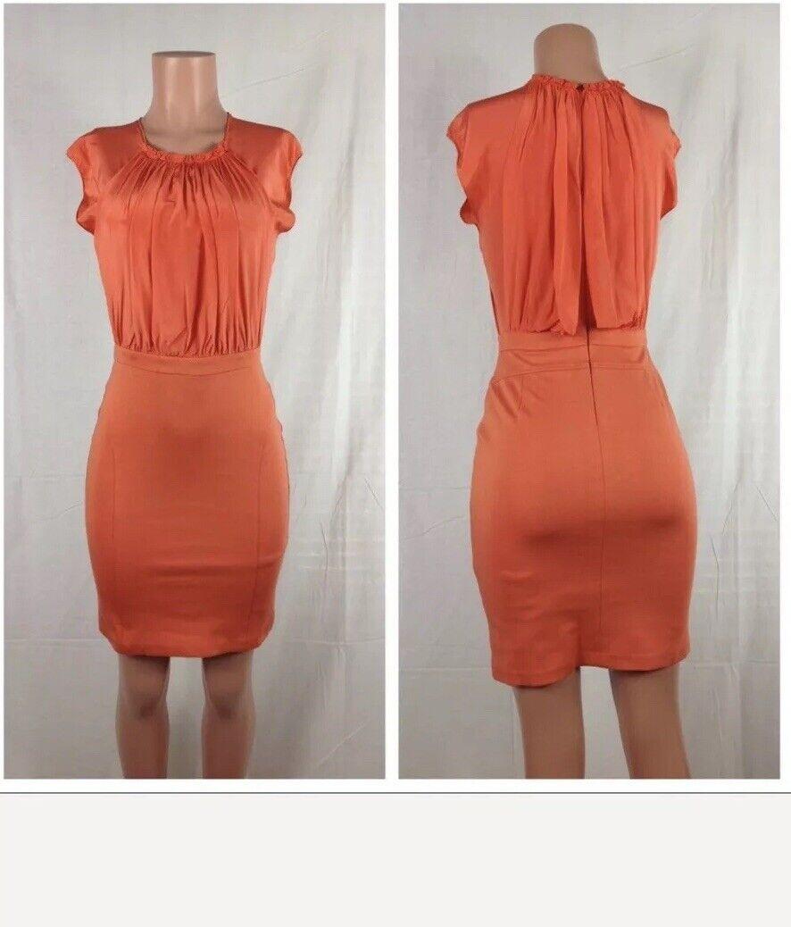 Trina Turk Womens Silk Blend Fitted Dress orange Sz S