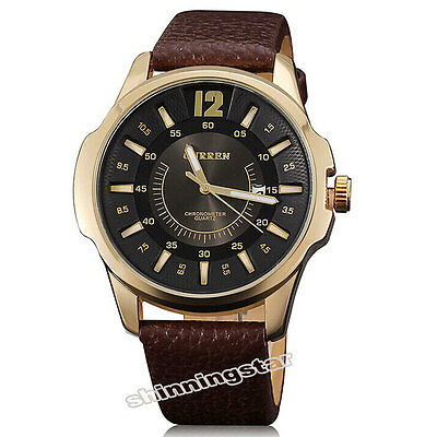 CURREN Men Date Round Dial Chronometer Sport Leather Band Quartz WristWatch Gift
