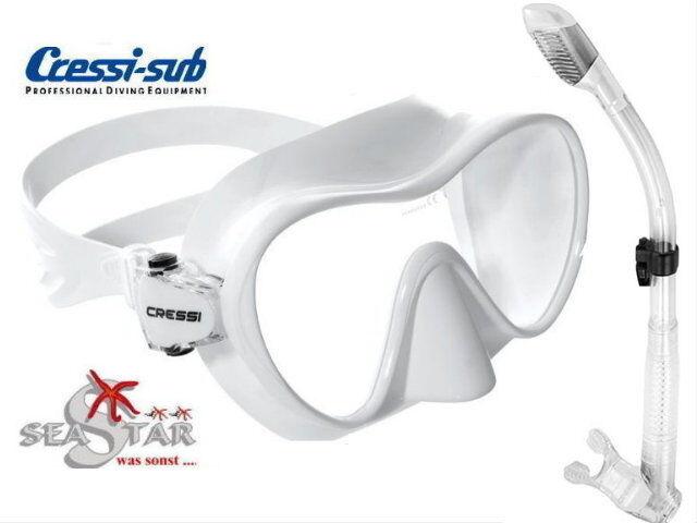 Framless Maske F1 + Dry Schnorchel CressiSub schwarz Silicon antiallergen antiallergen antiallergen a3d464
