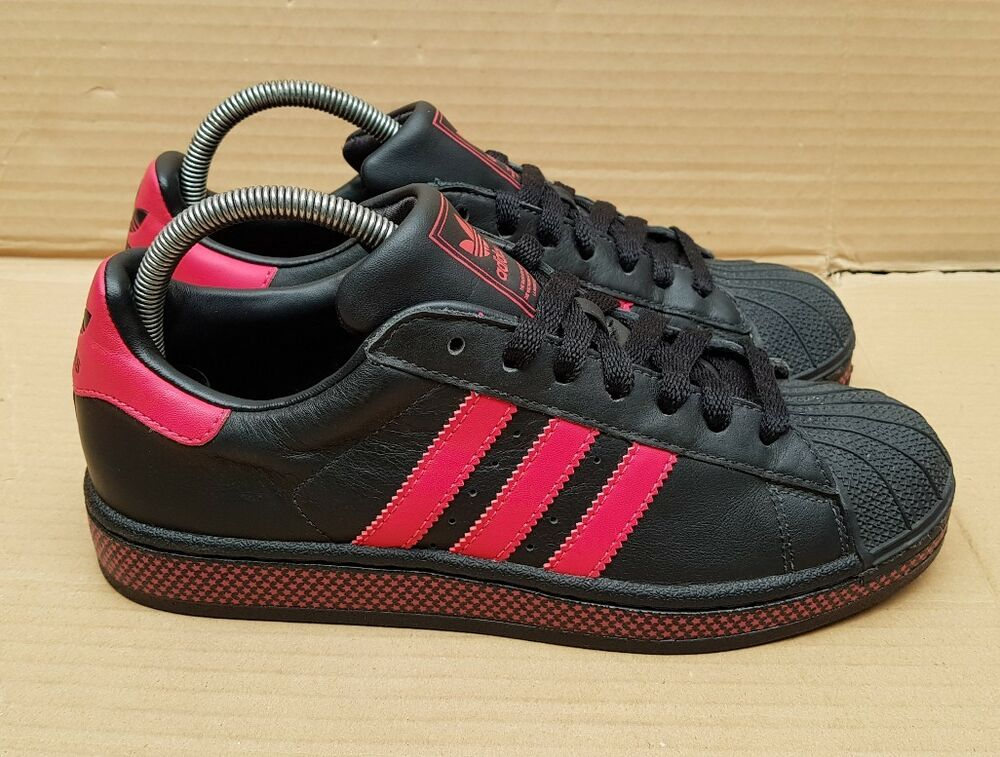 Adidas Superstar Shell Toe Baskets Taille 5 UK Rose Magenta et Noir Superbe Sur-