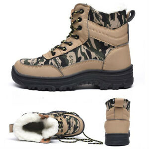 Unisex Women s Safety Steel Toe Boots Winter High Top Military Work ... 3926d78efe