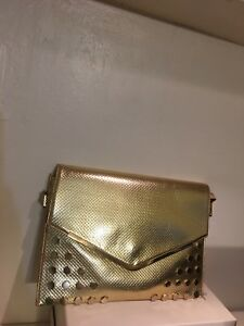 e40fe42afe4 Image is loading Women-s-Fashion-large-Gold-envelope-Clutch-handbag