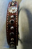 Western Genuine Leather Dog Collar W/concho Size 20