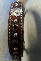 Western Genuine Leather Dog Collar W/concho Size 20