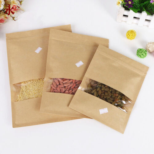 20pcs Kraft Paper Stand Up Bags Self Sealing Window Sealable Food Storage Pouch