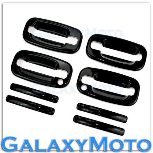 99-06 Chevy Silverado Gloss Shiny Black 4 Door Handle w.PSG Keyhole Cover