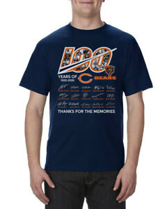 100-Years-Anniversary-of-CHICAGO-BEARS-Signature-For-Fan-Navy-T-Shirt