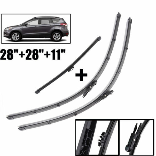 3Pcs Front /& Rear Window Windshield Wiper Blades For Ford Escape //Kuga 2012-2017