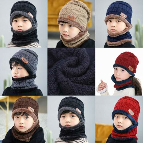 Mode Warm Kinder Winter Strick Mütze und Schal für 3-12 Years Old Mädchen Jungen