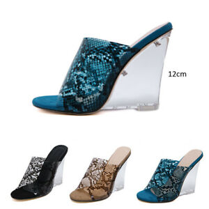 Women-High-Wedge-Clear-Heels-Mules-Ladies-Snakeskin-Print-Sandals-Peep-Toe-Shoes