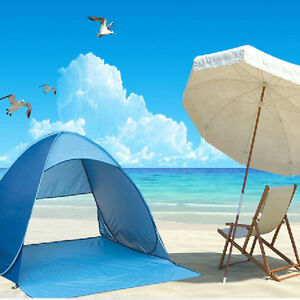 Chic-Pop-Up-Picnic-Tent-Cabana-Beach-Shelter-Infant-Sand-Sun-Shade-Outdoor-Blue