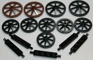 LEGO 4489 2470 Rad räder braun wheel wagenrad ritter castle 26 teile Achse brown