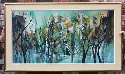 Large Vintage RICHARD WAGNER Cubist Modernist Cityscape Skyline Oil Painting NR