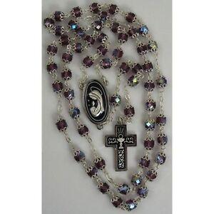 Damascene-Silver-Rosary-Cross-Virgin-Mary-Purple-Beads-by-Midas-of-Toledo-Spain