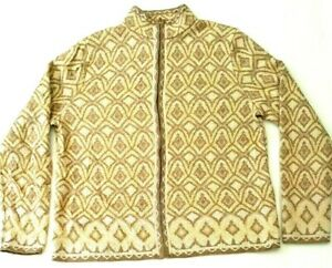 Pendleton-Womens-Size-M-Beige-Aztec-Print-Merino-Wool-Zip-Front-Cardigan-Jacket