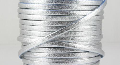 silber metallic 3 x 1,5 mm 1 m Nappalederband Schmuck herstellen EU-Ware