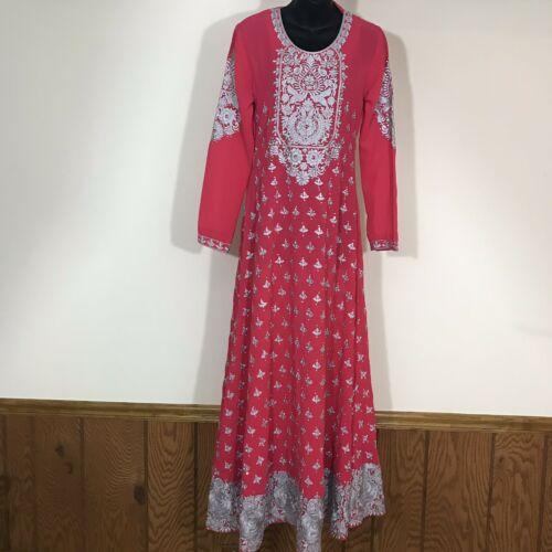 bohemian size medium vintage maxi dress crochet dress vintage kaftan mirrored dress Indian style dress ribbon dress sheer pink dress