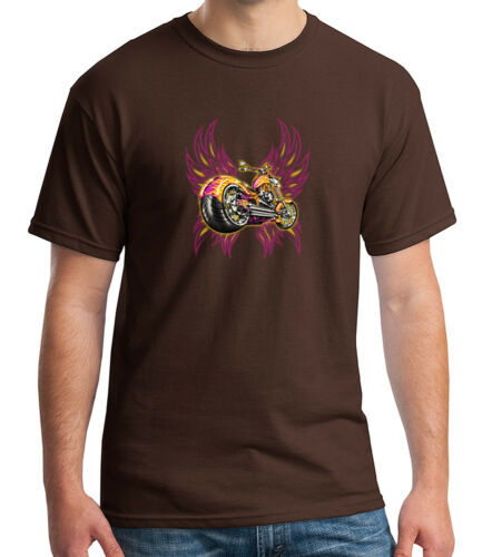 1097C Motorcycle Lovers Adult/'s T-shirt Winged Bike Tee for Men
