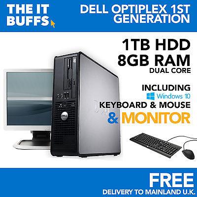 Dell Dual Core 8GB 1TB - 1.5TB HDD Windows 10 - Full Bundle Desktop PC Computer