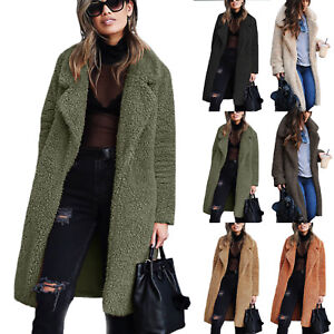 women winter teddy bear pocket long fluffy coat fleece fur. Black Bedroom Furniture Sets. Home Design Ideas