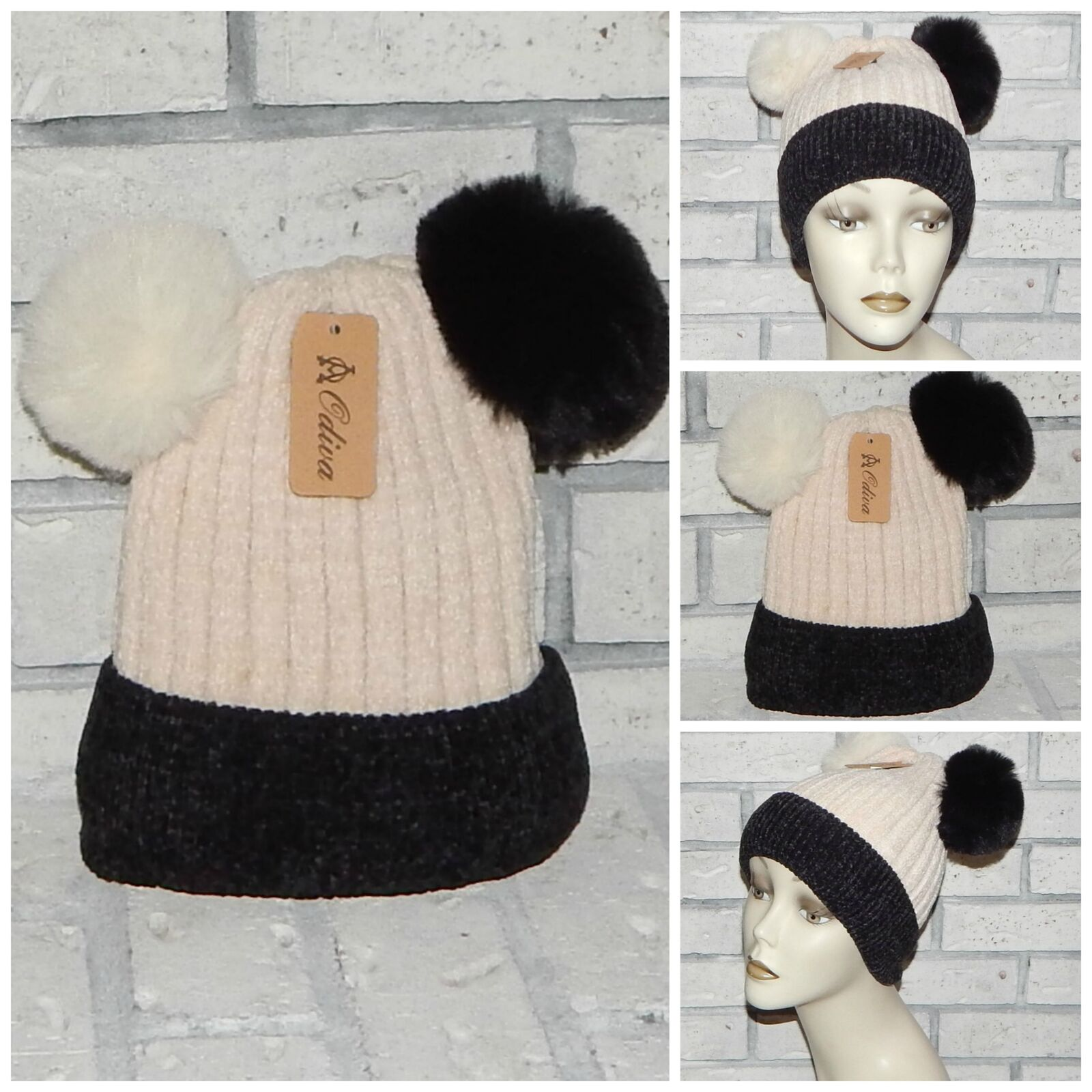 Brown double pom poms beanie lined with very soft and warm fluffy material