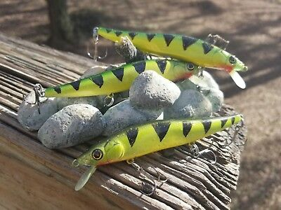 CUSTOM PAINTED MEGA BIGBASSBAIT JERKBAIT FISHING LURE HOLOGRAPHIC GOLD PERCH