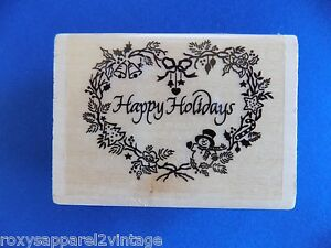 Happy-Holidays-inside-Heart-Shaped-Wreath-Wood-Mounted-Rubber-Stamp-Gently-Used