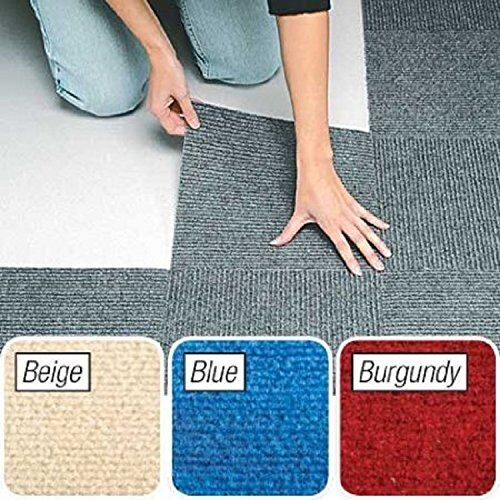 "Peel and Stick Beige Berber Carpet Tiles 12""x12"" Set of 10 By Jumbl"