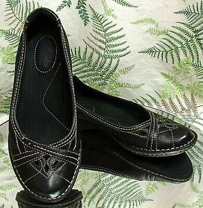 CLARKS-BLACK-LEATHER-LOAFERS-SLIP-ONS-COMFORT-DRESS-SHOES-MOCS-US-WOMENS-SZ-6-M