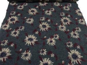 Stoff-Ital-Musterwalk-Walkloden-Relief-Blumen-grau-bordeaux-beige-lila