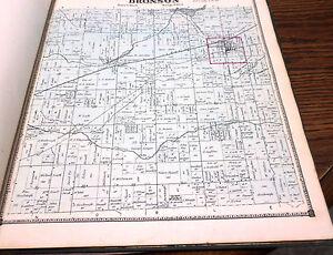 ORIGINAL 1872 MAP TOWN OF BRONSON MI MICHIGAN BRANCH CO