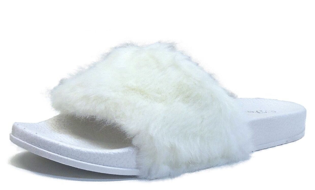 New White Womens Casual Flat Sandals White New Faux Fur Slip On Slides by Forever 868408