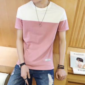 New-Men-039-s-Slim-O-Neck-Short-Sleeve-Tee-T-shirt-Fashion-Casual-Tops-Blouse