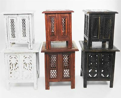 Beautiful Antique Effect Hand Carved Indian Wooden Table Side Coffee Tables