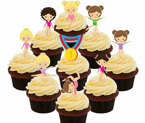 Image Is Loading Gymnastics 36 Edible Cup Cake Toppers Fairy Bun