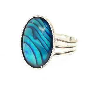 Blue-Abalone-Shell-Paua-Ring-Gemstone-Adjustable-18-x-13-mm-Silver-Plated-Oval