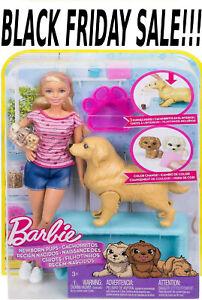 Barbie-Cachorros-recien-nacido-muneca-Barbie-Perro-Cachorros-amp-Play-Set-Rubio-Morena-Viernes-Negro